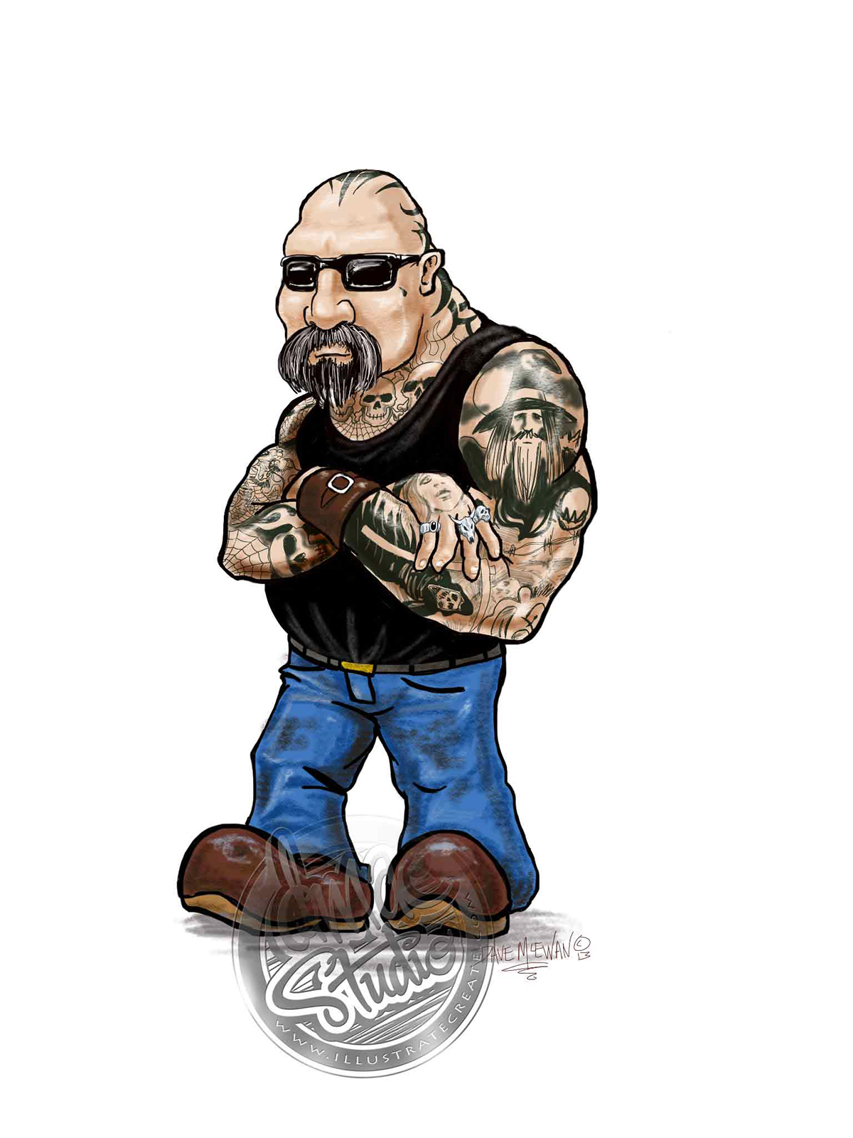 Cartoon bikie