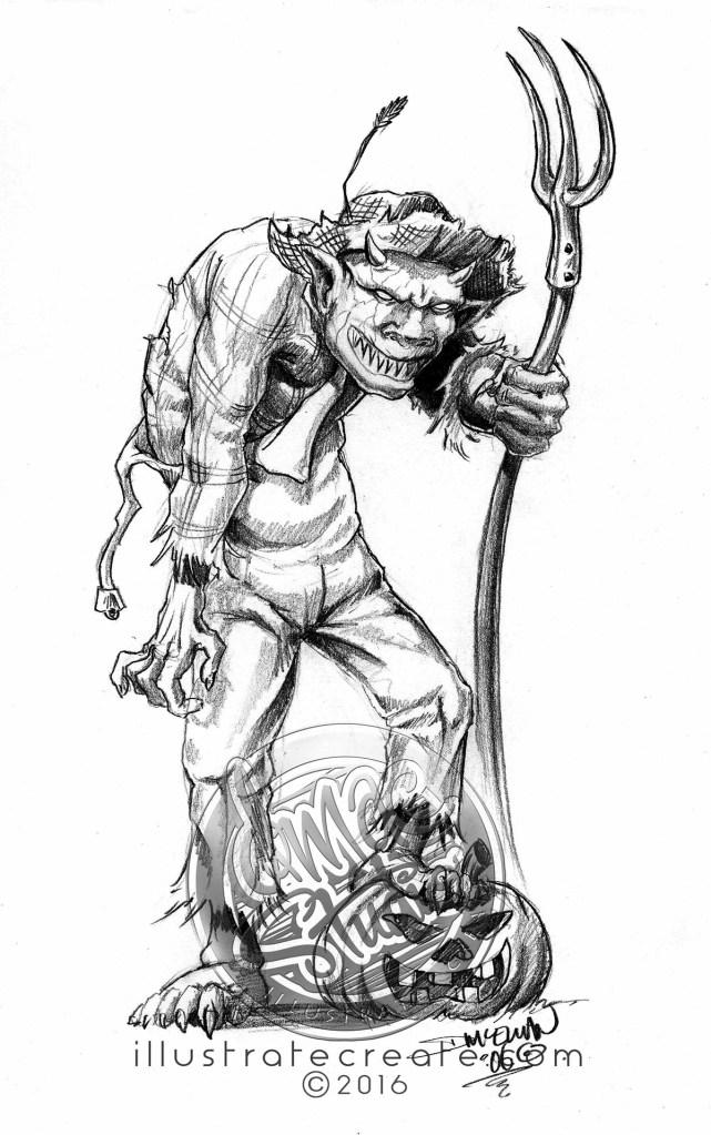 demon farmer pencil drawing