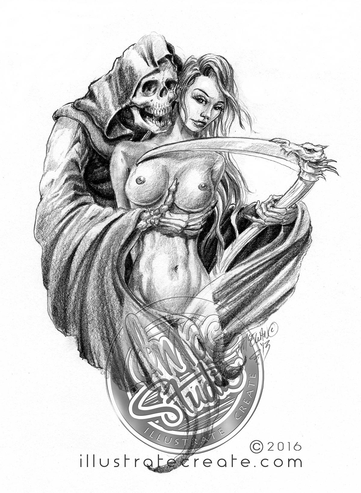 Grim reaper drawing