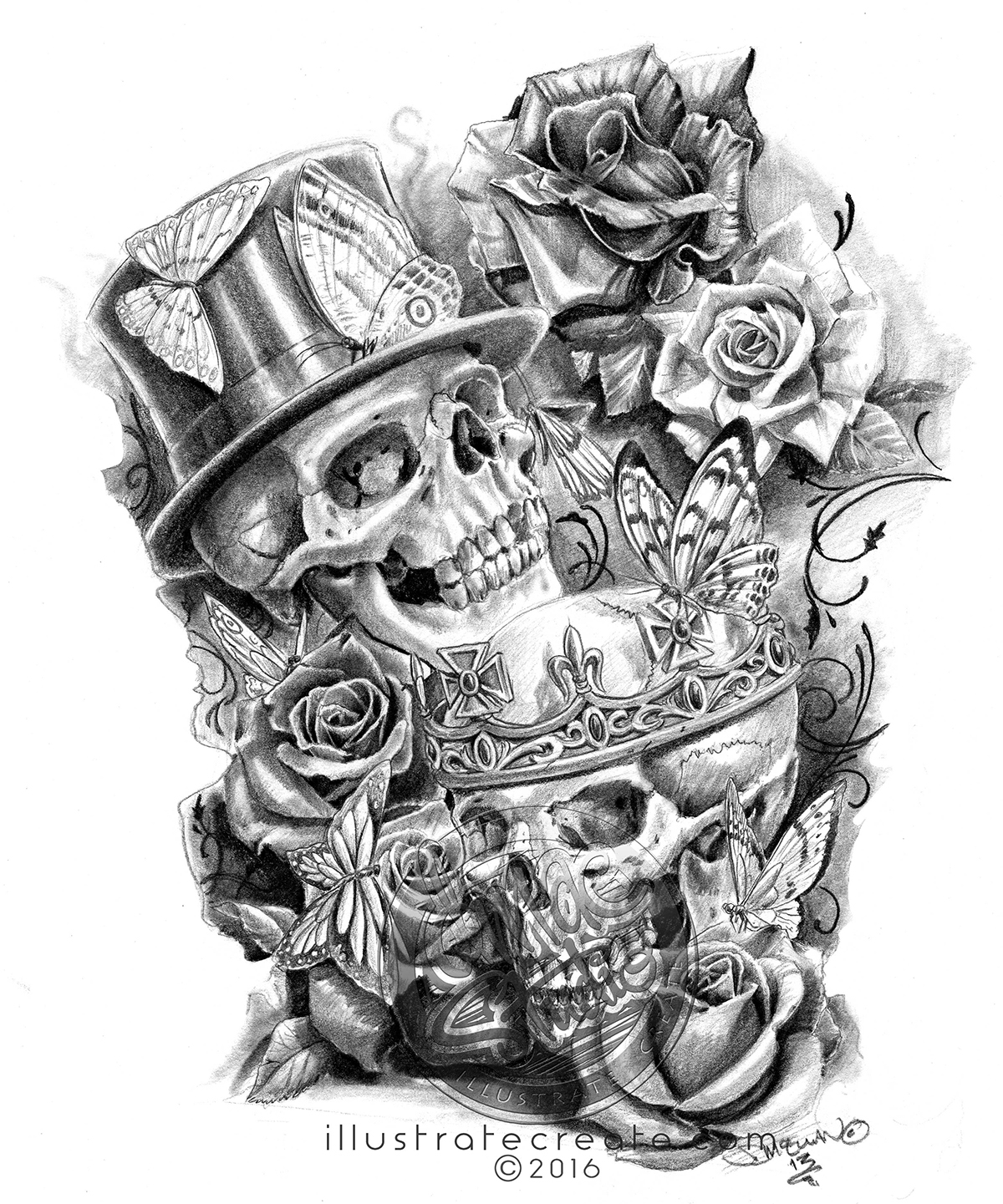 Skulls and roses pencil art