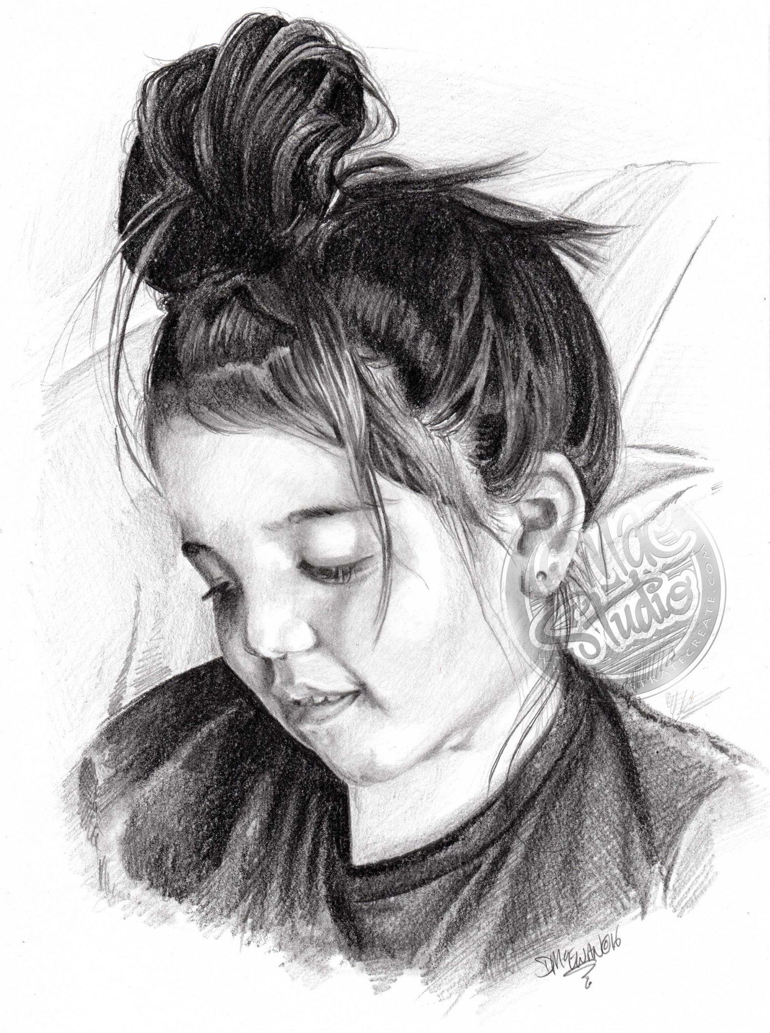 Pencil Portrait Little Girl