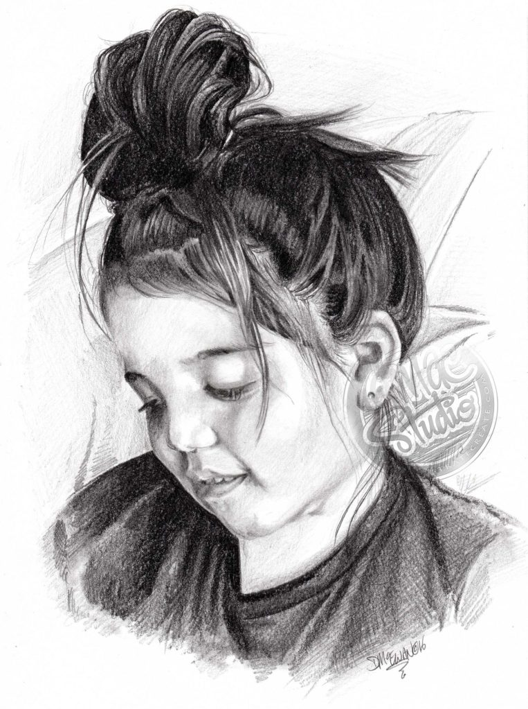 Pencil Portrait Little Girl