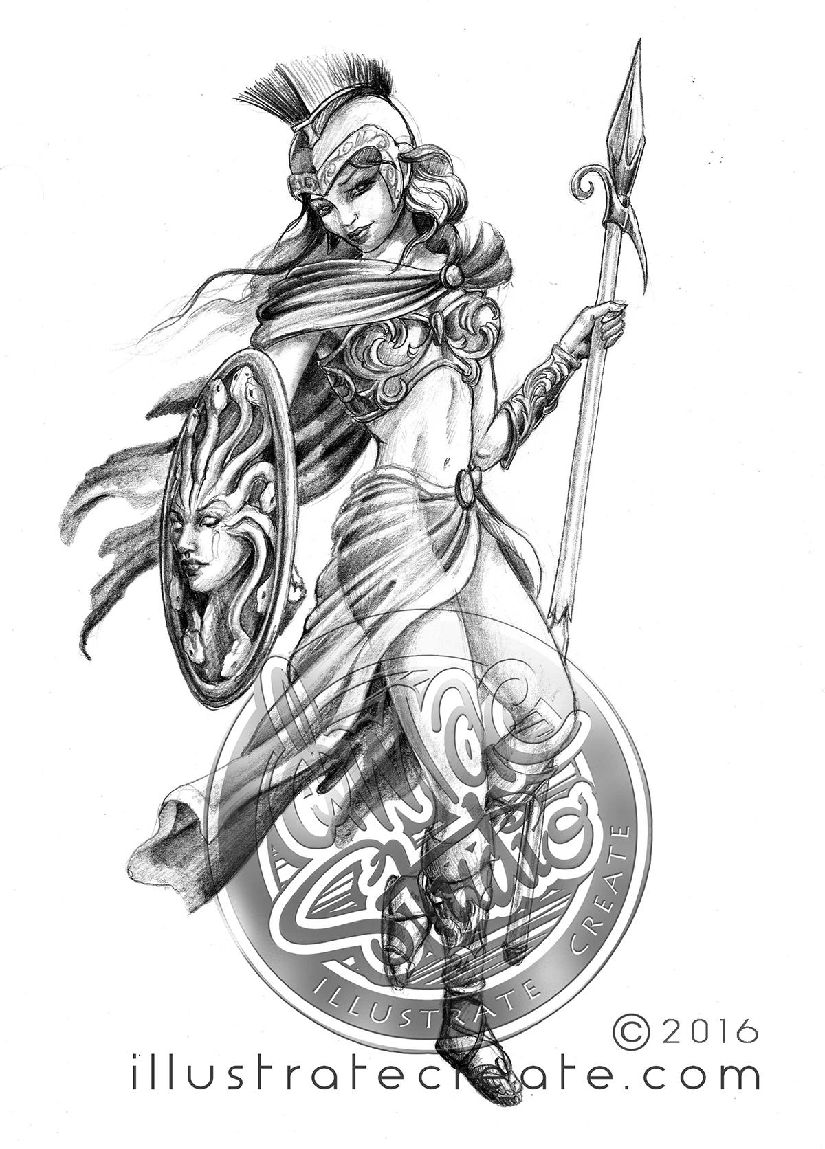 Warrior Girl drawing