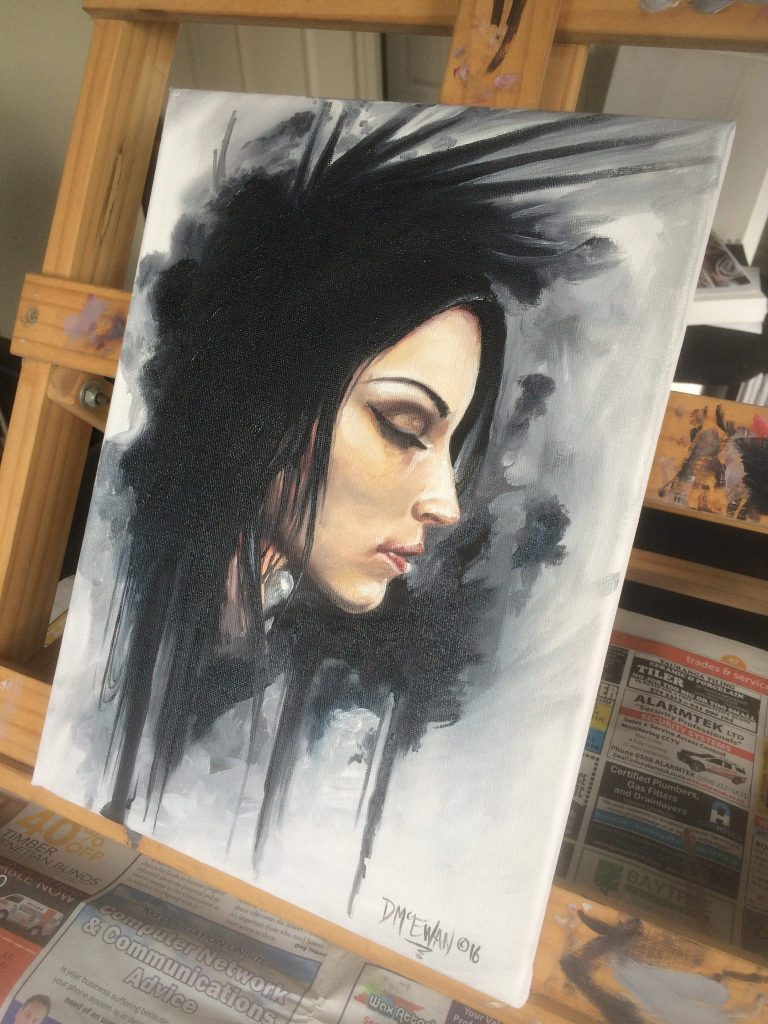 In thought painting girl