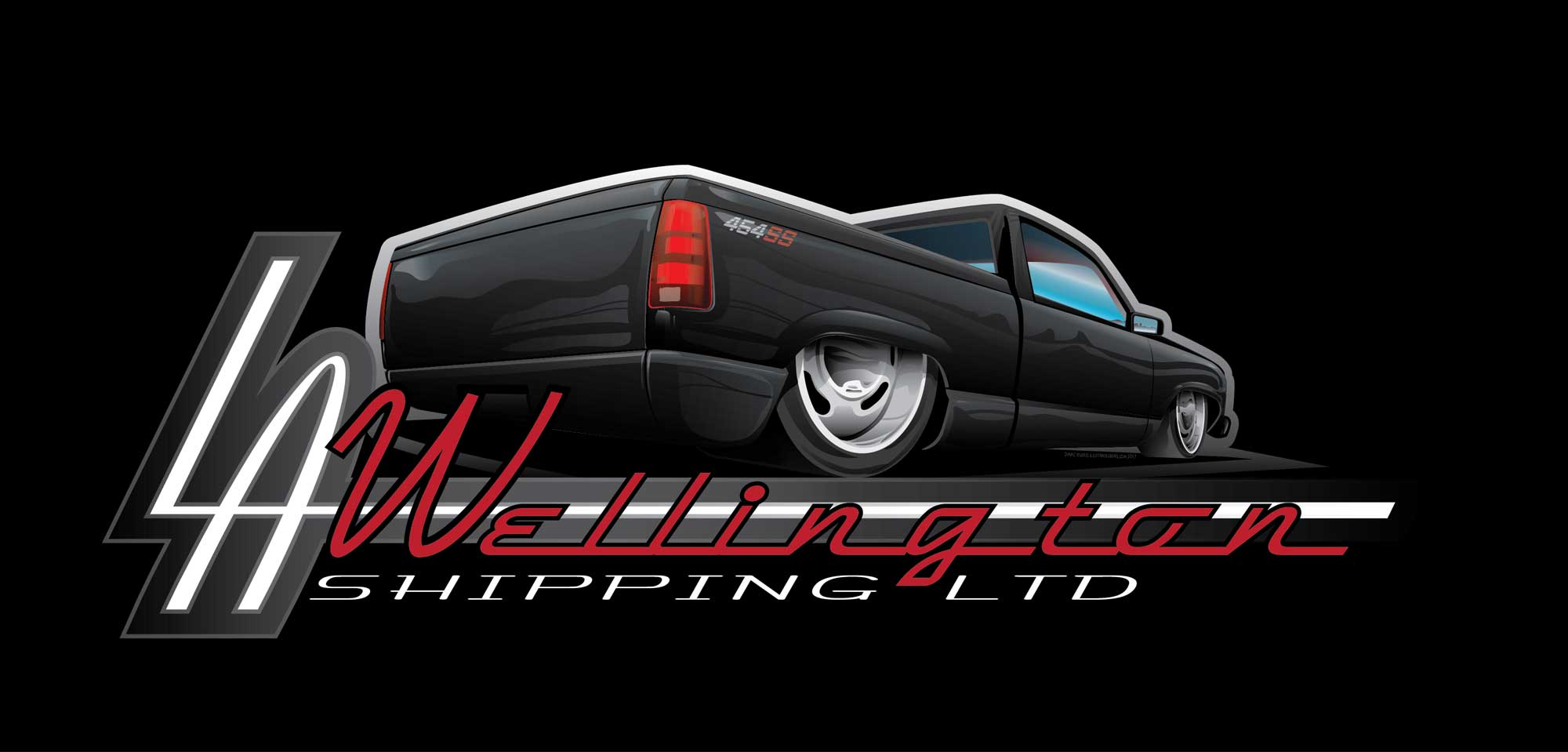 Logo Design and Illustration Papamoa Tauranga, Auckland, Hot Rod, Importer New Zealand, Vector graphics 454 SS Chevy truck