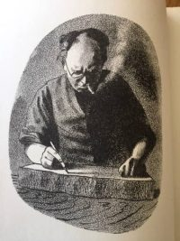 Barnett Freeman self-portrait drawing on a litho stone