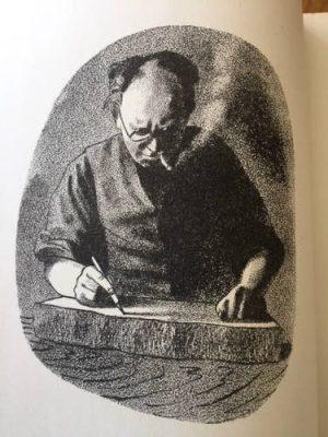 Barnett Freeman self-portrait drawing on a litho stone