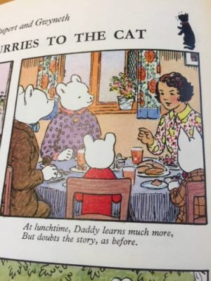Rupert the Bear having tea with his mum and dad