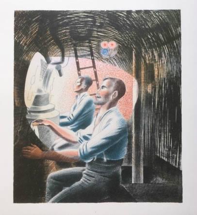 Ravilious, Diving Controls 2, submarine lithograph