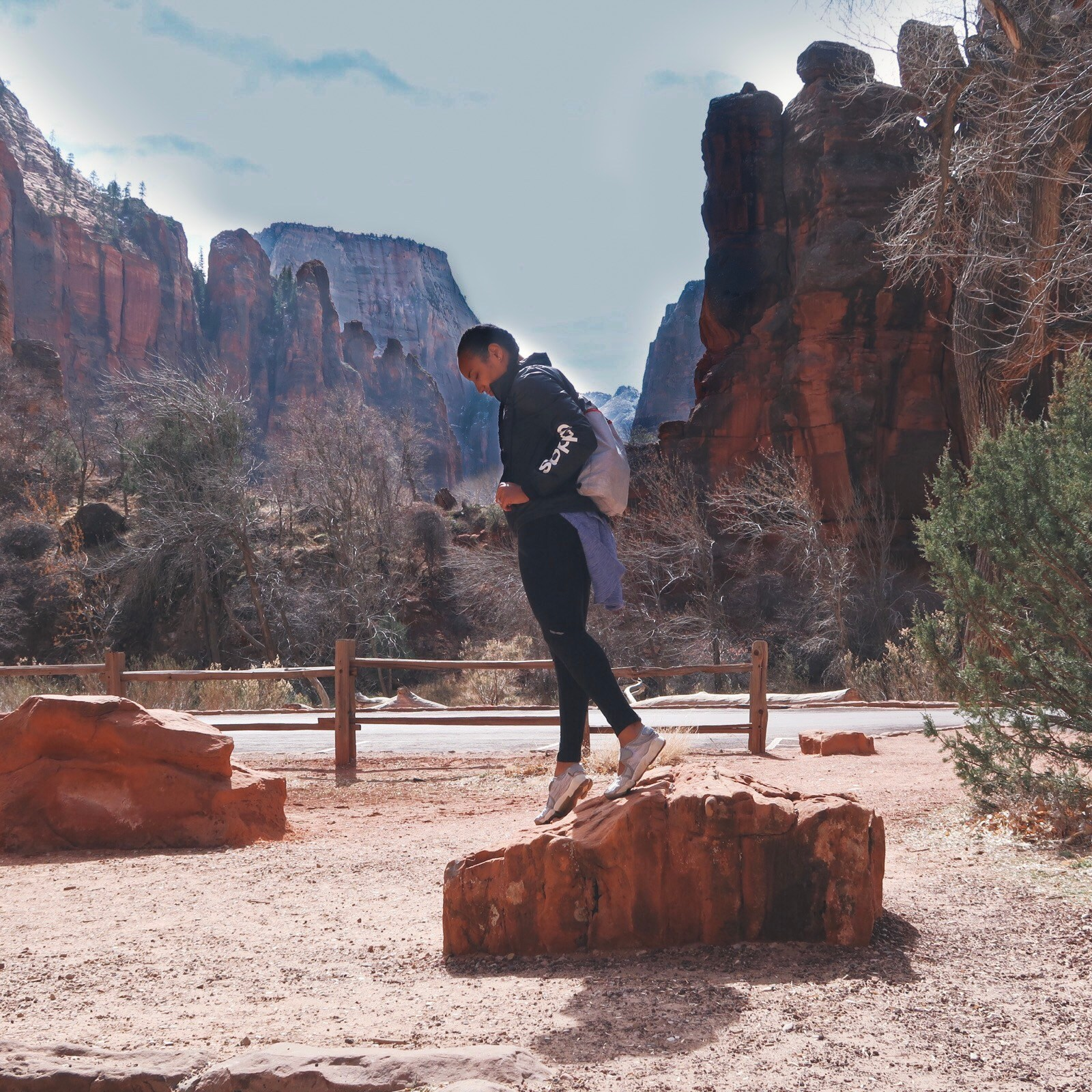 Illustrated by Sade - Woman taking a photo at Zion National Park