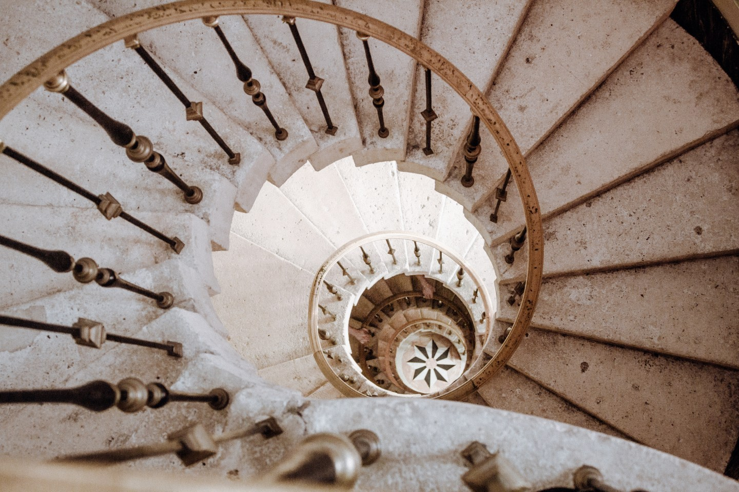 Illustrated by Sade - Stunning marble spiral staircase at Vizcaya Museum and Gardens