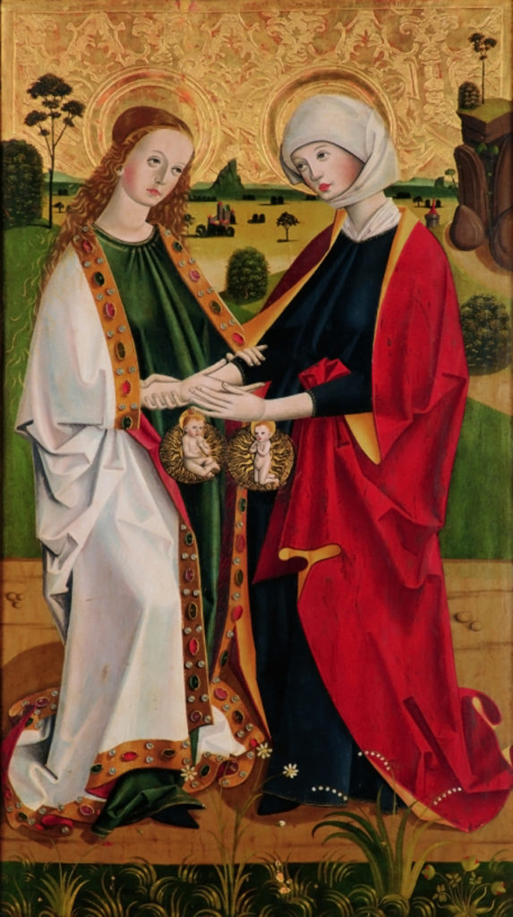 Visitation of Mary and Elizabeth, c. 1460. Kremsmünster Abbey, Kremsmünster, Austria. Via IllustratedPrayer.com