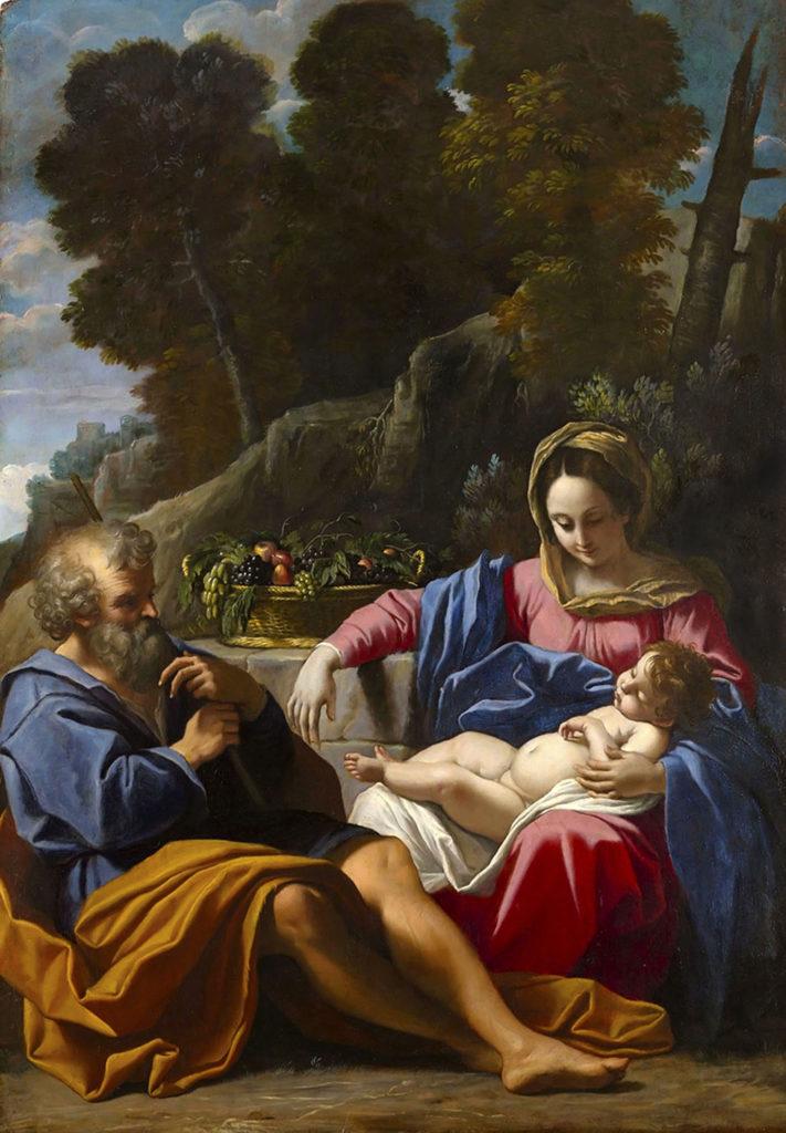 The Holy Family, by Sisto Badalocchio, c. 1610. Wadsworth Atheneum, Hartford, Connecticut, United States. Via IllustratedPrayer.com