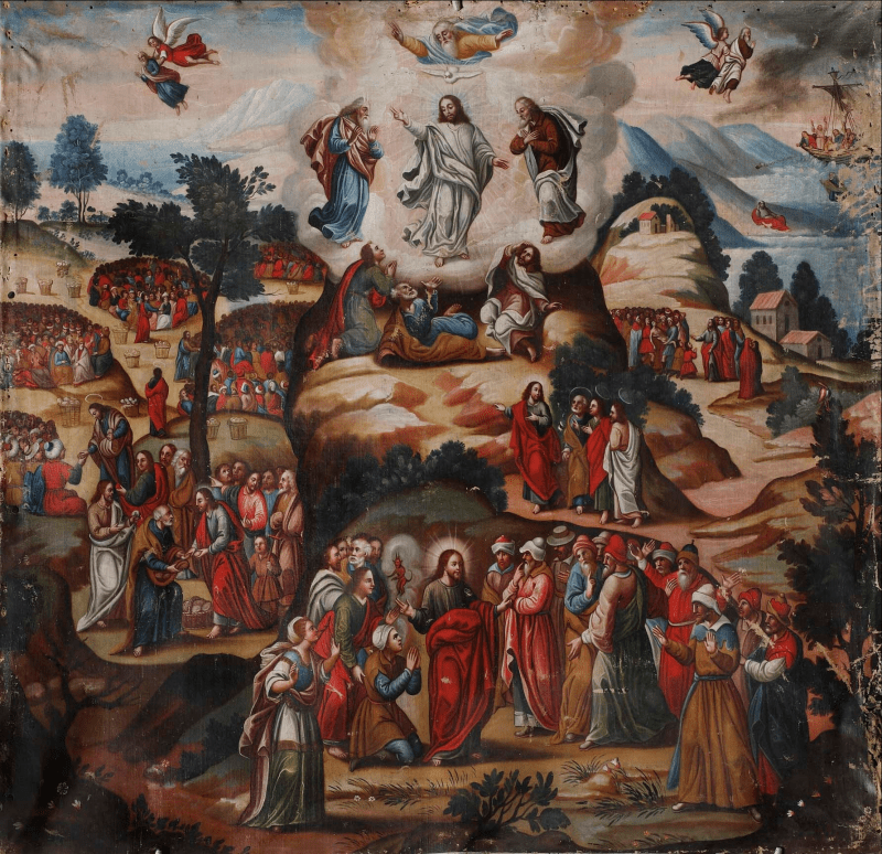 The Transfiguration, by Maestro de Santa Teresa, c. 18th century. Monasterio de Santa Teresa, Ayacucho, Perú. Via IllustratedPrayer.com