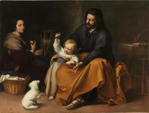 Holy Family with Bird, by Bartolomé Esteban Murillo, c. 1650. Museo de Prado, Madrid, Spain. Via IllustratedPrayer.com