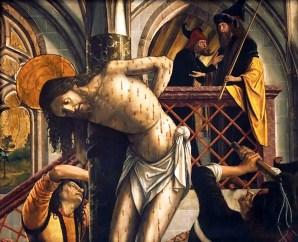 Flagellation, by Michael Pacher, c. 1495-98. Austrian Gallery Belvedere, Vienna, Austria.