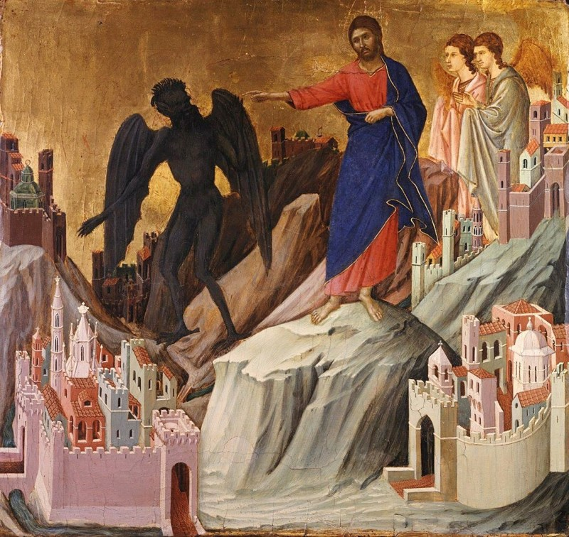 The Temptation of Christ on the Mountain, by Duccio di Buoninsegna, c. 1308-11. The Frick Collection Museum, New York, New York, United States. Via IllustratedPrayer.com