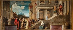 The Presentation of the Virgin Mary in the Temple of Jerusalem, by Titian, c. 1534-38. Gallerie dell'Accademia, Venice, Italy. Via IllustratedPrayer.com