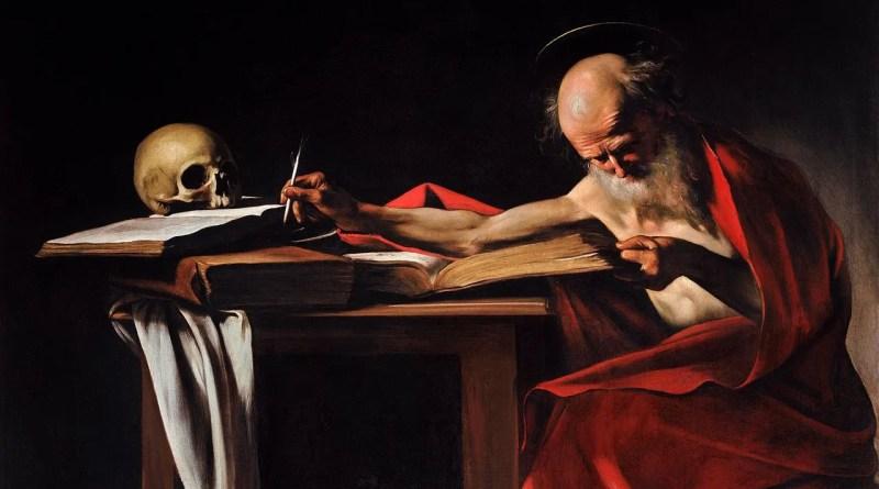 Saint Jerome Writing, by Caravaggio, c. 1605-06. Galleria Borghese, Rome, Italy. Via IllustratedPrayer.com
