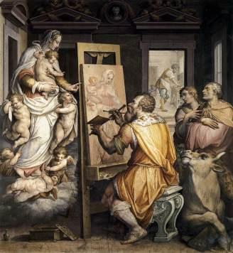 St. Luke Painting the Virgin, by Giorgio Vasari, c. 16th century. Basilica della Santissima Annunziata, Florence, Italy. Via IllustratedPrayer.com