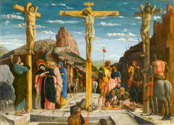 Crucifixion, by Andrea Mantegna, c. 1457-59. The Louvre, Paris, France.