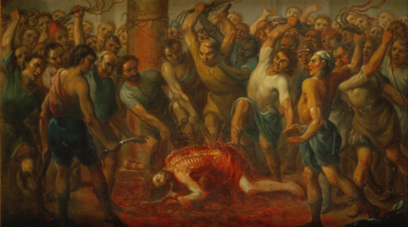 The Flagellation, by Nicolás Enríquez, c. 1729. Museo Nacional de Arte, Mexico City, Mexico. Via IllustratedPrayer.com