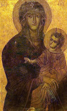 Virgin Salus Populi Romani, tradionally by St. Luke. Basilica of St. Mary Major, Rome, Italy. Via IllustratedPrayer.com