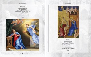 A look inside Karina Tabone's book, The Joyful Mysteries from the Illustrated Rosary series. These pages show the Hail Mary prayers, illustrated by artworks of the Annunciation. Via IllustratedPrayer.com