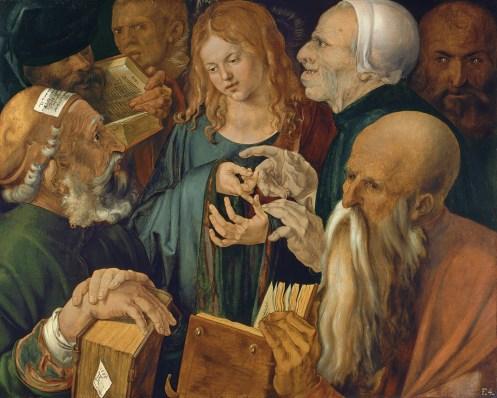Jesus Among the Doctors, by Albrecht Dürer, C. 1506. Museo Thyssen-Bornemisza, Madrid, Spain. Via IllustratedPrayer.co