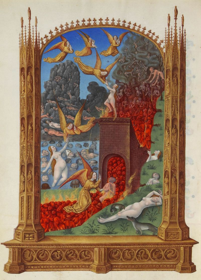 Purgatory from Les Très Riches Heures du duc de Berry, c. 15th century. Musee de Conde, Chantilly, France. Via IllustratedPrayer.com
