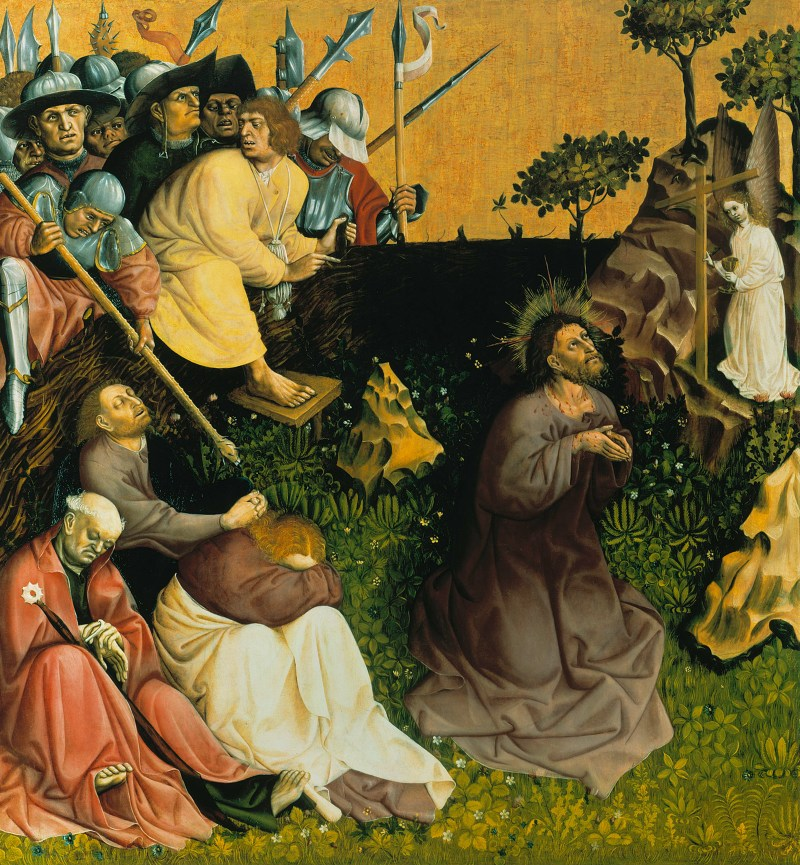 Christ on the Mount of Olives, by Hans Multscher, c. 1437. Gemäldegalerie, Berlin, Germany. Via IllustratedPrayer.com