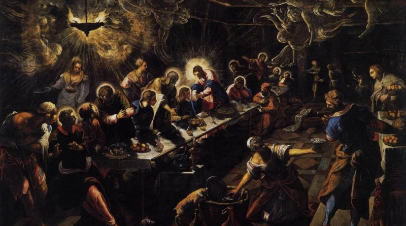 The Last Supper, by Il Tintoretto, c. 1592-94. San Giorgo Maggiore, Venice, Italy. Via IllustratedPrayer.com