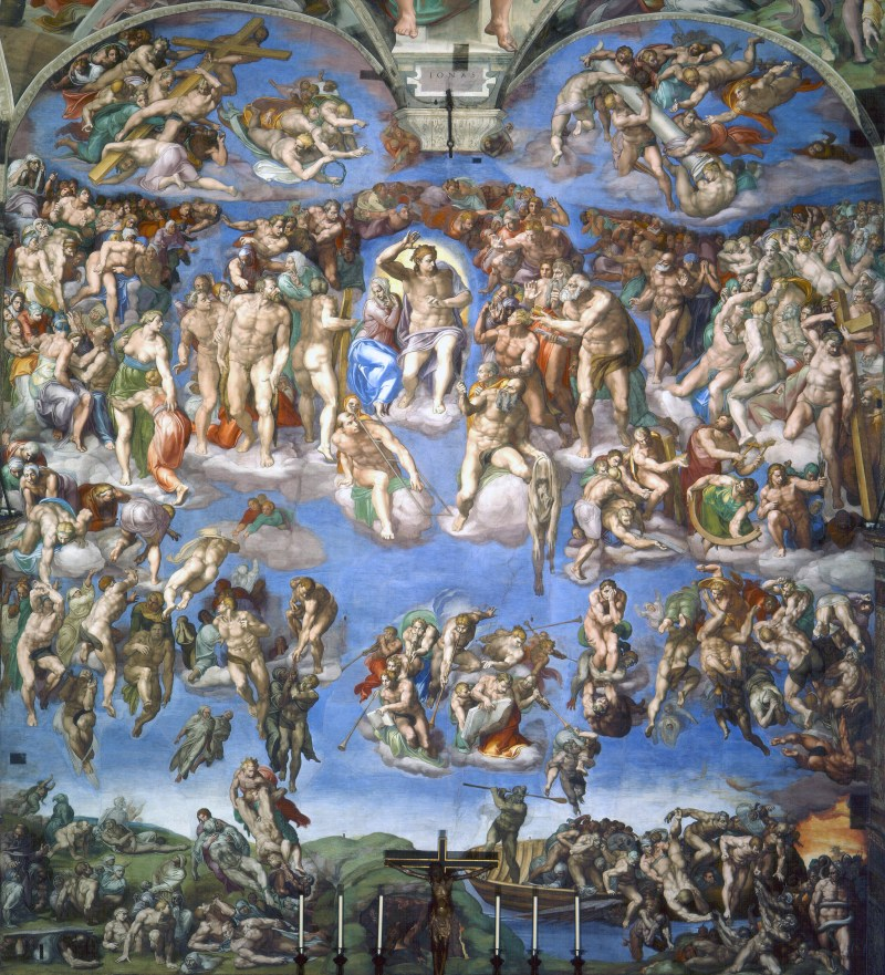 The Last Judgment, by Michelangelo, c. 1536-41. Sistine Chapel, Vatican, Rome, Italy. Via IllustratedPrayer.com