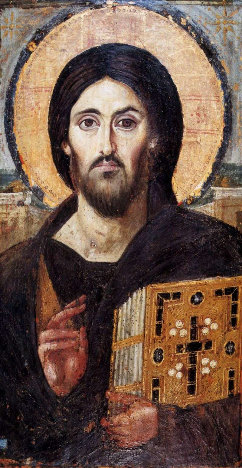 Christ Pantocrator, 6th century. St. Catherine's Monastery, Sinai, Egypt. Via IllustratedPrayer.com