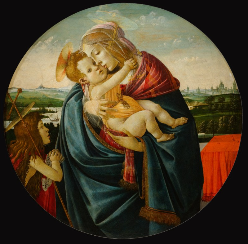 Virgin and Child with Saint John the Baptist, by Sandro Botticelli, c. 1490. The Clark Institute, Williamstown, Massachusetts, United States. Via IllustratedPrayer.com