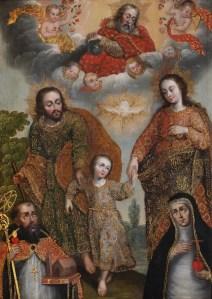 Double Trinity with Saint Augustine and Saint Catherine of Siena, by Cuzco School, c. 1700-30. Museo de Arte de Lima, Lima, Peru. Via IllustratedPrayer.com