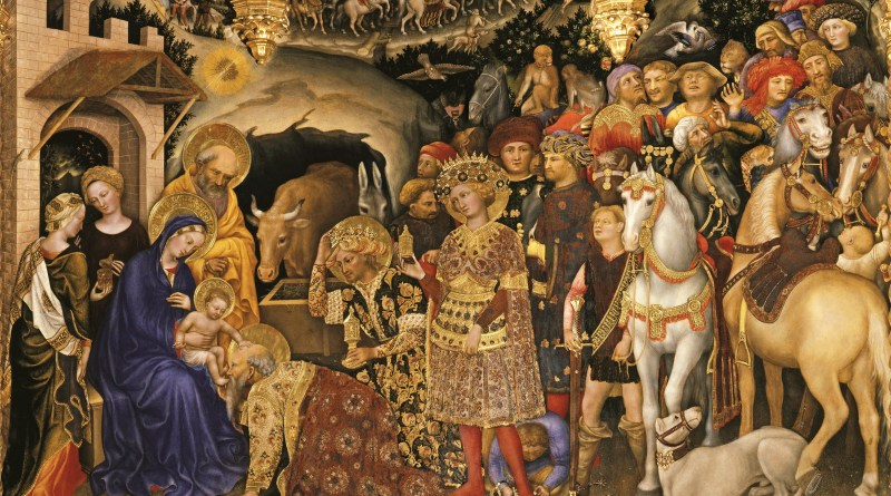 Adoration of the Magi, by Gentile da Fabriano, c. 1423. Uffizi Gallery Museum, Florence, Italy. Via IllustratedPrayer.com