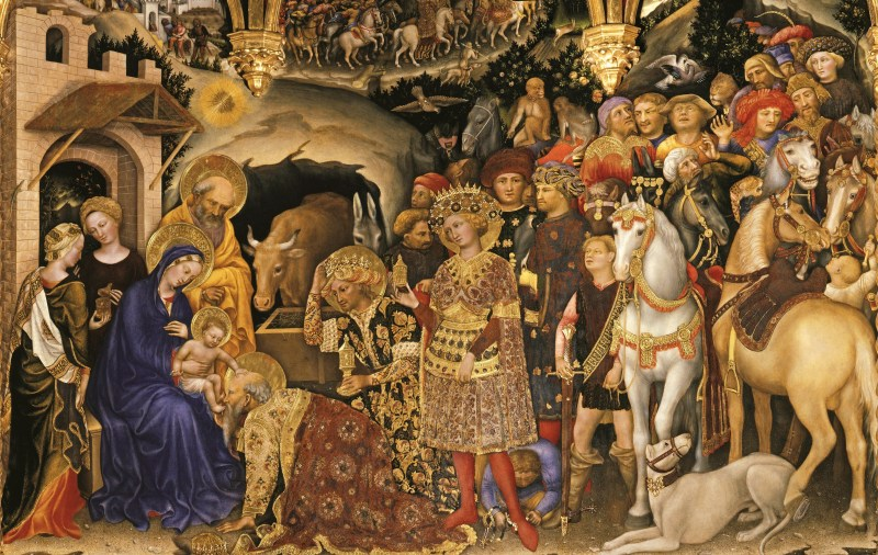 Adoration of the Magi (detail), by Gentile da Fabriano, c. 1423. Uffizi Gallery Museum, Florence, Italy. Via IllustratedPrayer.com
