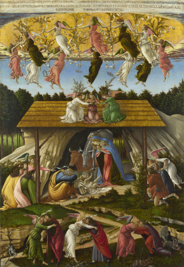 Mystic Nativity, by Sandro Botticelli, c. 1500. National Gallery, London, United Kingdom. Via IllustratedPrayer.com