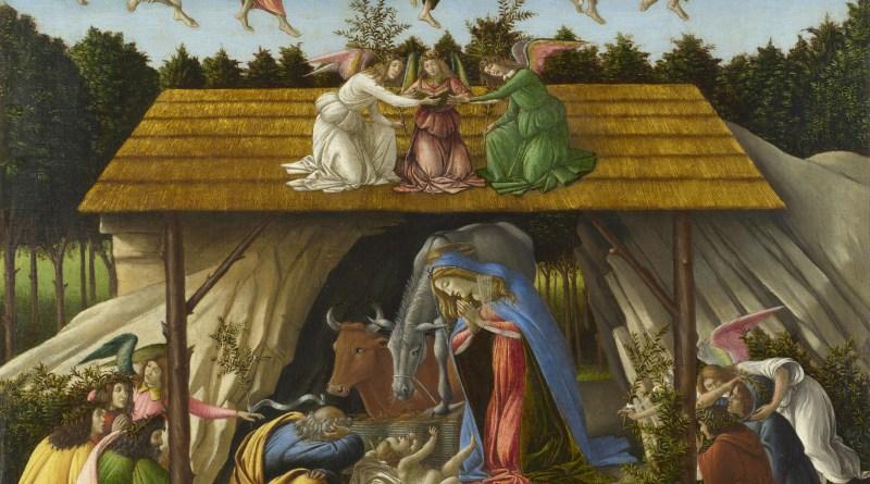 Mystic Nativity, by Sandro Botticelli, c. 1500. National Gallery, London, United Kingdom. Via IllustratedPrayer.com