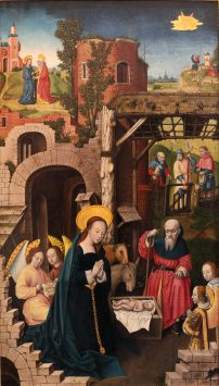 The Nativity, by Monogrammist A.H., c. 1500. Museum of Fine Arts of Lyon, Lyon, France. Via IllustratedPrayer.com