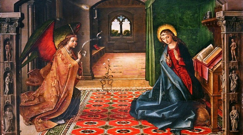 The Annunciation, by Pedro Berruguete, c. 14th century. Miraflores Charterhouse, Burgos, Spain. Via IllustratedPrayer.com