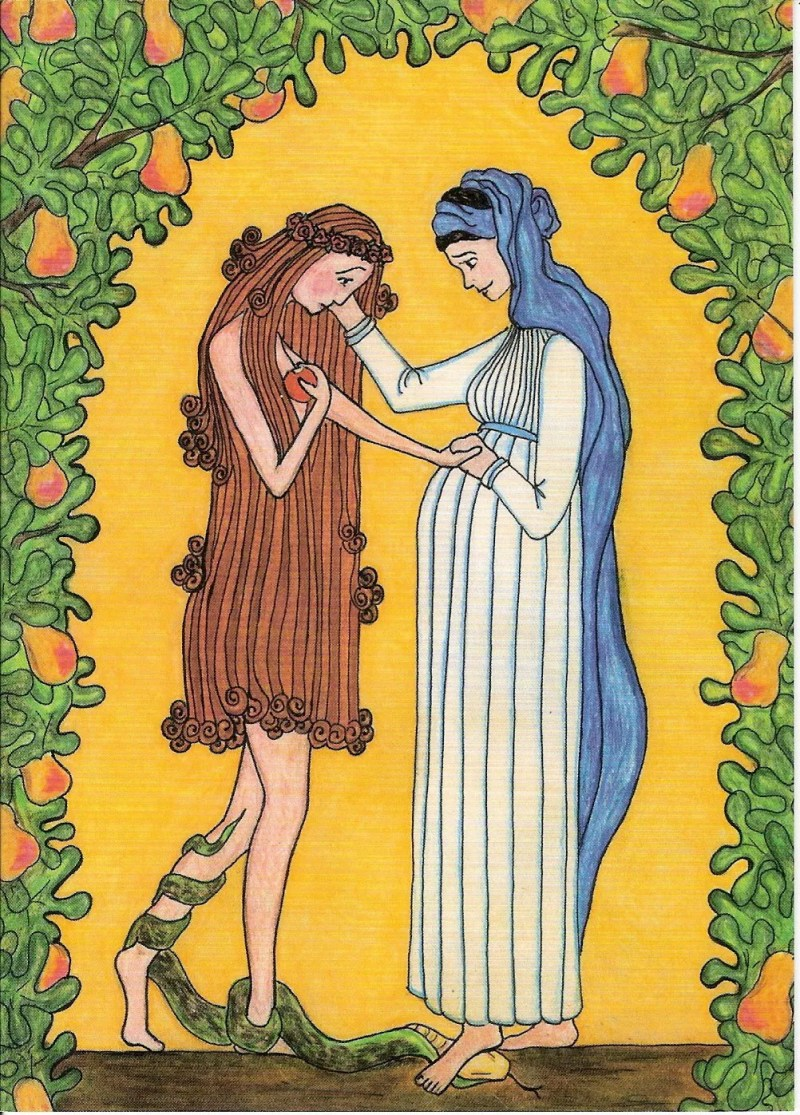 Mary and Eve, by Sister Grace Remington, OCSO, from Sisters of the Mississippi Abbey in Dubuque, Iowa. Copyright to Sister Grace Remington. Click the link for more information about buying this as a print directly from their abbey! Via IllustratedPrayer.com