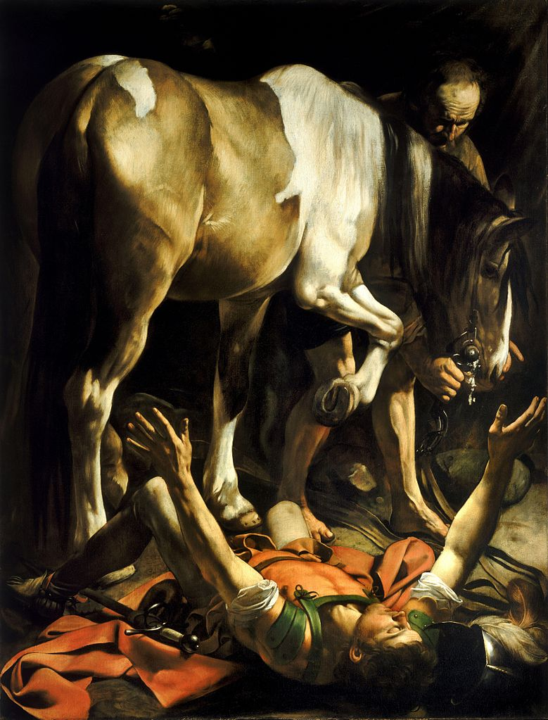 Conversion on the Way to Damascus, by Caravaggio, c. 1600-01. Santa Maria del Popolo, Rome, Italy. Via IllustratedPrayer.com