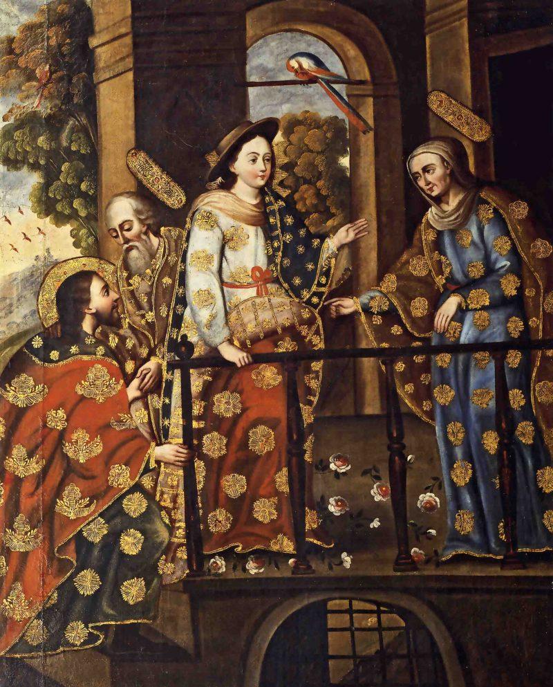 The Visitation, by Cuzco School, c. 18th century. Thoma Collection, Kenilworth, Illinois, UnitedStates. Via IllustratedPrayer.com