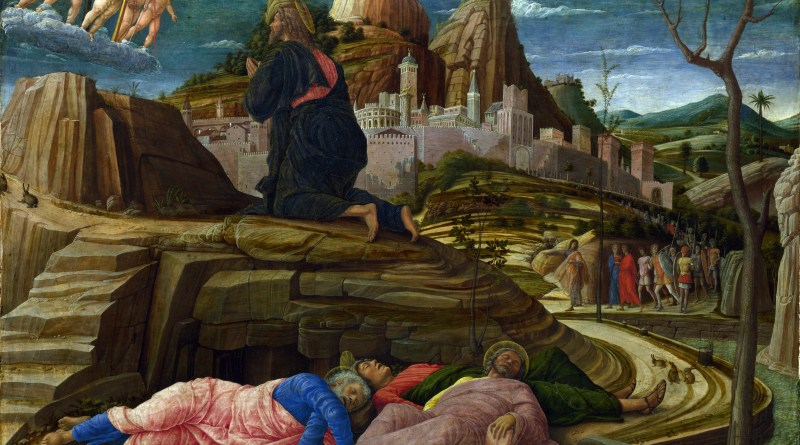 The Agony in the Garden, by Andrea Mantegna, c. 1458-60. National Gallery, London, United Kingdom. Via IllustratedPrayer.com