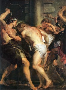 Flagellation of Christ, by Peter Paul Rubens, c. 17th century. Church of St. Paul, Antwerp, Belgium. Via IllustratedPrayer.com