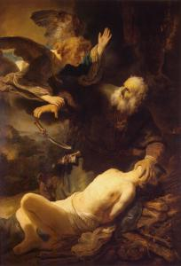 Sacrifice of Isaac, by Rembrandt van Rijn, c. 1635. State Hermitage Museum, St. Petersburg, Russia. Via IllustratedPrayer.com