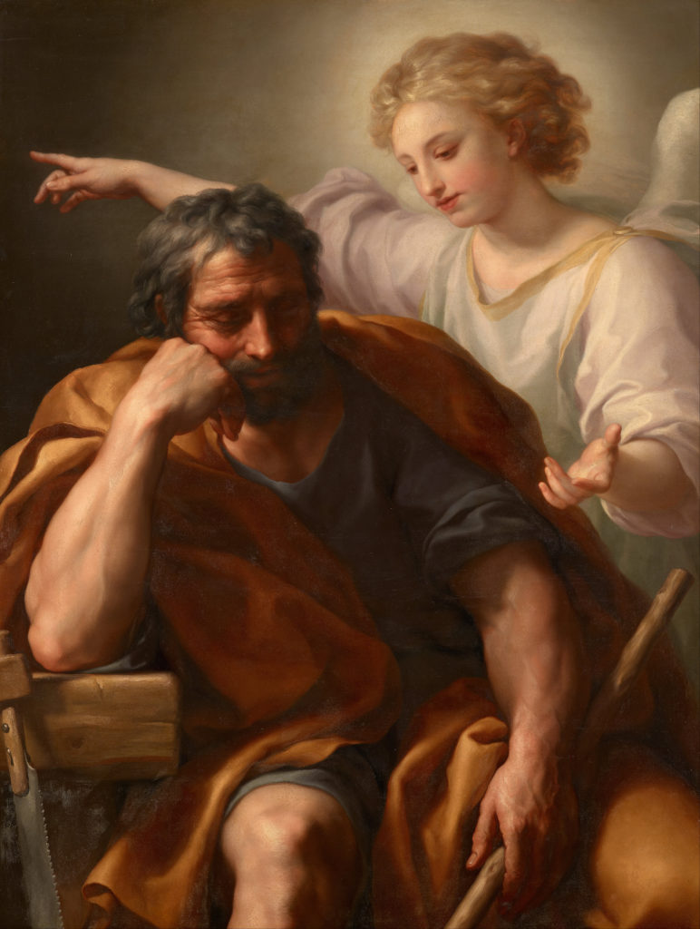 The Dream of St. Joseph, by Anton Raphael Mengs, c. 1773-74. Kunsthistorisches Museum, Vienna, Austria. Via IllustratedPrayer.com