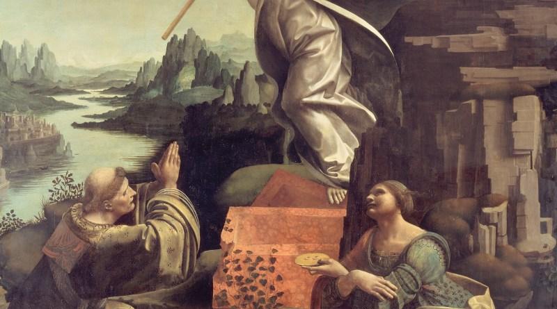 The Resurrection of Christ with the Saint Leonard of Noblac and Lucia, by Giovanni Antonio Boltraffio and Marco d'Oggiono, c. 1491-94. Gemäldegalerie, Berlin, Germany. Via IllustratedPrayer.com